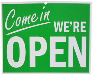 Come-In-Were-Open-green sign