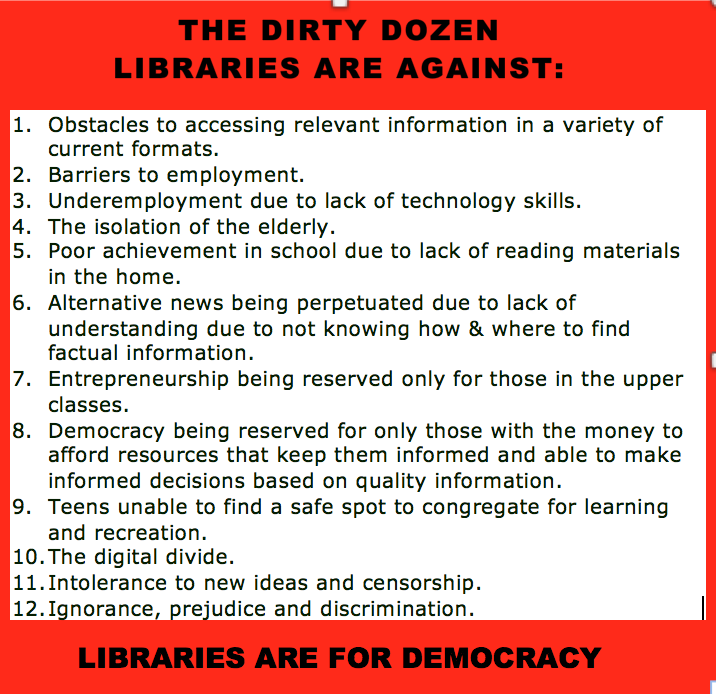DIRTY DOZEN THINGS LIBRARIES ARE AGAINST